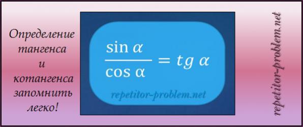 Определение тангенса и котангенса запомнить легко!